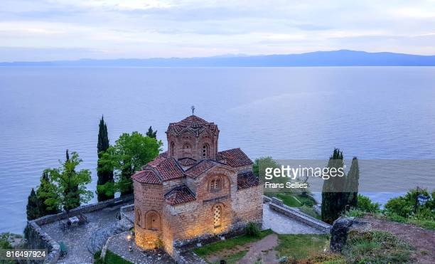 church of st john at kaneo on lake ohrid in macedonia - lake ohrid stock photos and pictures