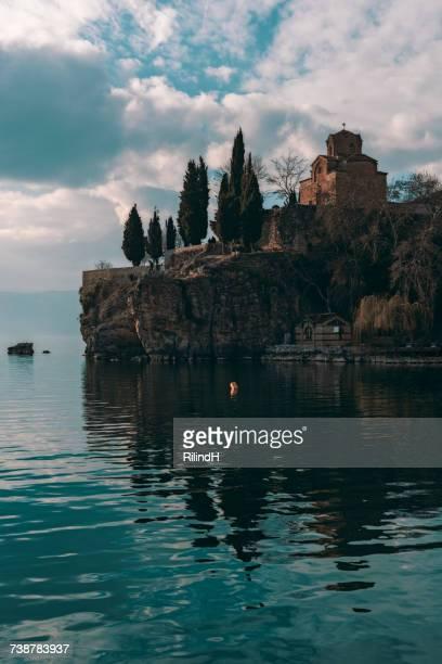 church of st john, caneo, lake ohrid, macedonia - lake ohrid stock photos and pictures