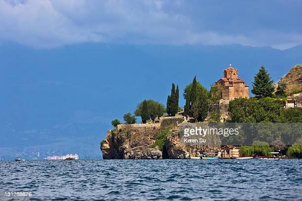 church of st. john the theologian at kaneo - lake ohrid stock photos and pictures