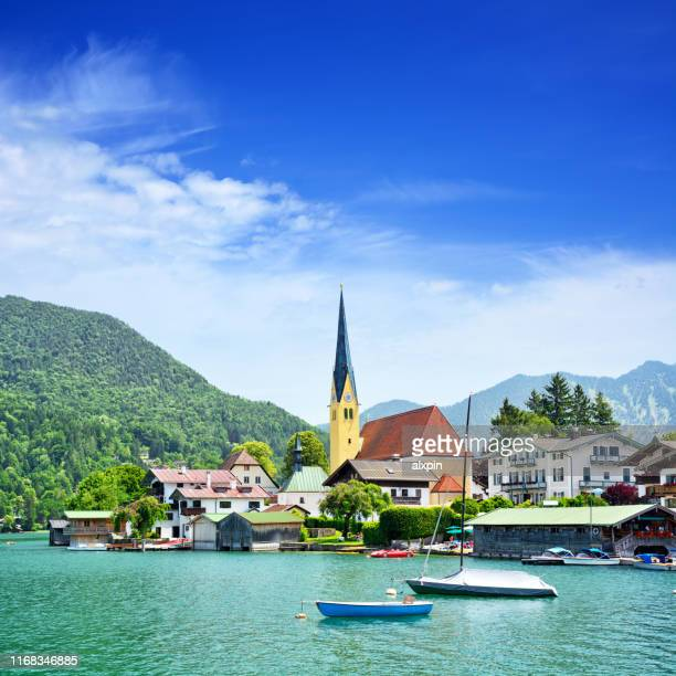 church of st. laurentius in rottach-egern town - tegernsee stock pictures, royalty-free photos & images