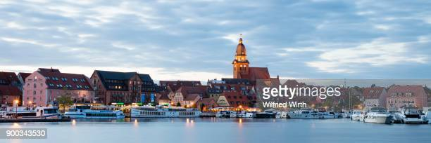 Church of St. Marien, City Harbour, Waren, Mueritz, Mecklenburg Lake District, Mecklenburg-Western Pomerania, Germany