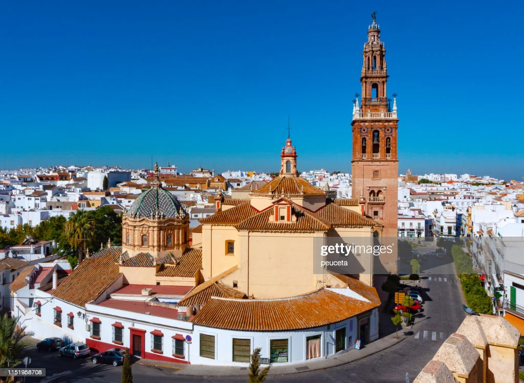 Church of St. Peter (San Pedro) and cityscape of Carmona, province of Seville, Andalusia, Spain : Stock Photo