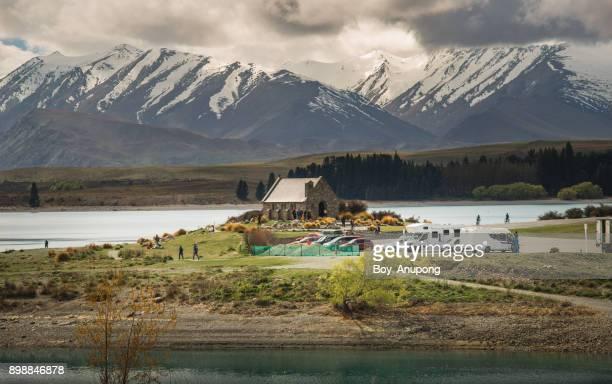 church of the good shepherd and spectacular landscape of lake tekapo, new zealand. - jesus the good shepherd stock pictures, royalty-free photos & images