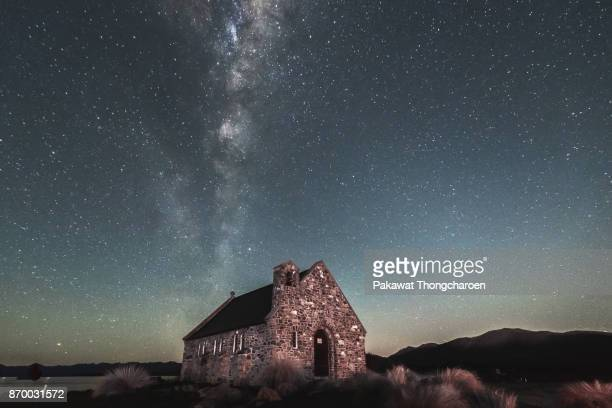 Church of the Good Shepherd at Night, Lake Tekapo, New Zealand