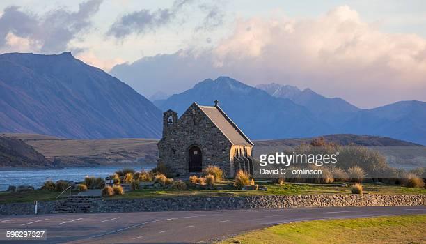 church of the good shepherd, sunrise, lake tekapo - international landmark stock pictures, royalty-free photos & images