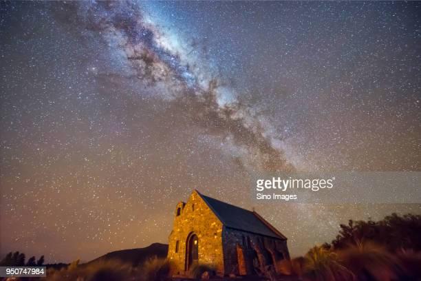 Church of the Good Shepherd under Milky Way galaxy and stars at night, LakeTekapo, South Island, New Zealand