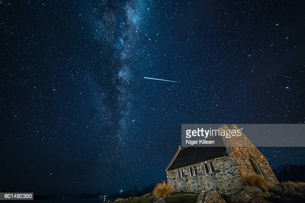 church of the good sherpherd, lake tekapo, new zealand - international space station stock pictures, royalty-free photos & images