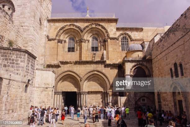 church of the holy sepulchre jerusalem old city - chiesa del santo sepolcro foto e immagini stock