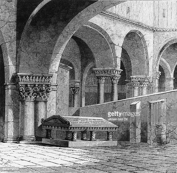 Church of the Holy Sepulchre Wood engravings from the 19th century Godfrey of Bouillon c. 1160*-18.07.1100* Count of Bouillon Duke of Lower Lorraine...