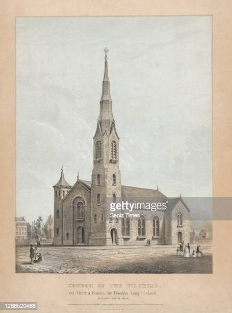 Church of the Pilgrims, Brooklyn, New York Lithograph with beige and blue tint stones and watercolor, image: 13 13/16 x 10 5/8 in. , Prints, Frances...