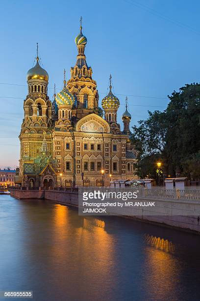 church of the savior on blood, russia - white nights festival stock photos and pictures