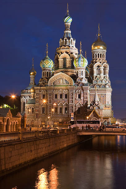 Church of the Savior on Spilled Blood (Church of the Resurrection) at dusk.