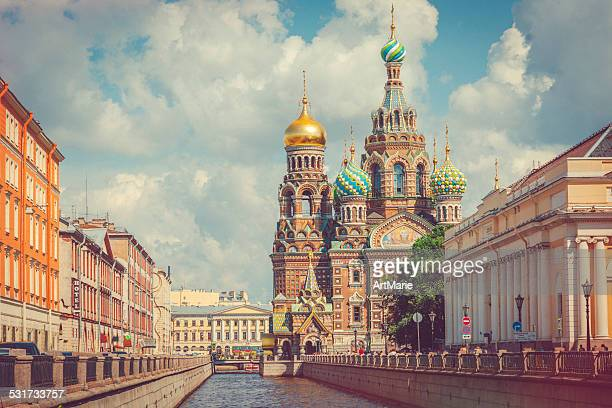 church of the savior on spilled blood - russian culture stock pictures, royalty-free photos & images
