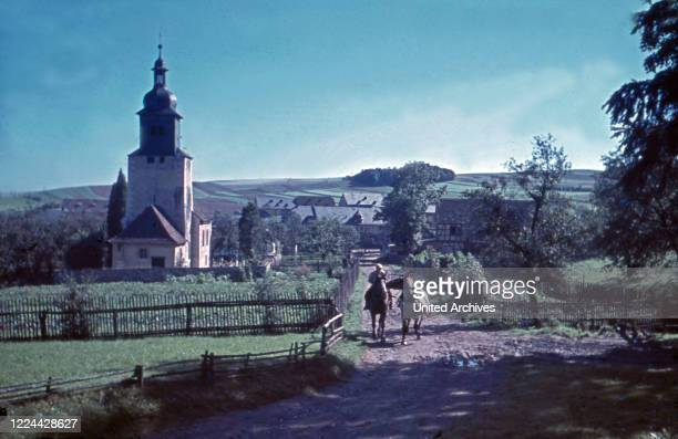 Church of the village Traun in Thuringia, Germany 1930s.