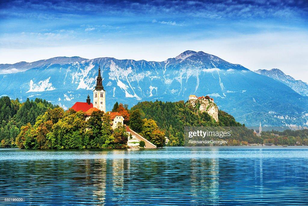 Church on island in Lake Bled, Slovenia : Stock Photo