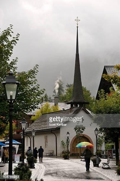 Church on main street of Gstaad.