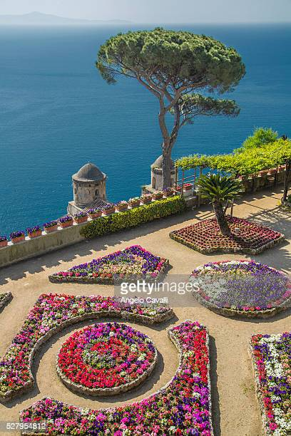 Church on step hillside over Amalfi Coast, Ravello, Campania, Italy