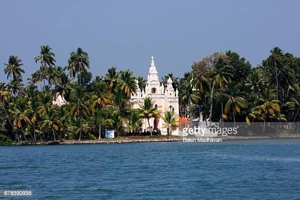 Church on the shores of Ashtamudi Lake, Kollam, Kerala, India, Asia