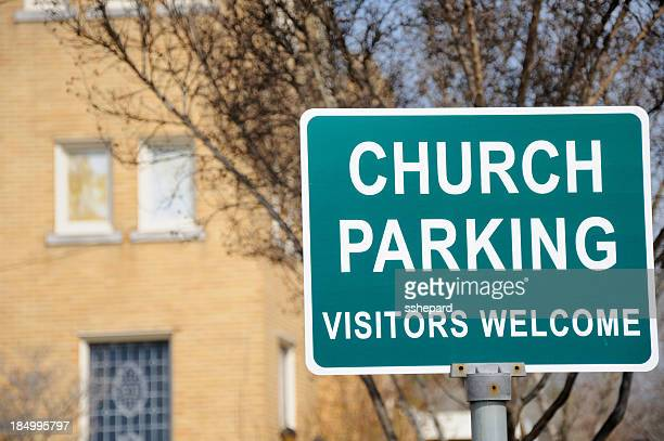 Church parking vistors welcome sign