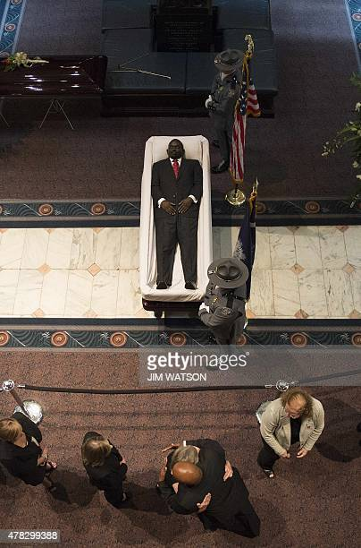Church pastor and South Carolina State Sen Clementa Pinckney lies in repose at the Statehouse Rotunda on June 24 2015 in Columbia South Carolina...