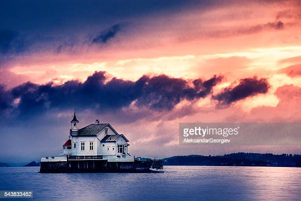 Church Perched on Stone in The Middle of Norwegian Fjord