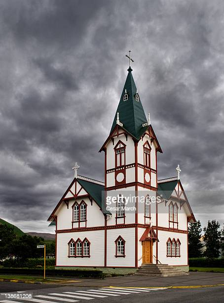 church - husavik stock photos and pictures