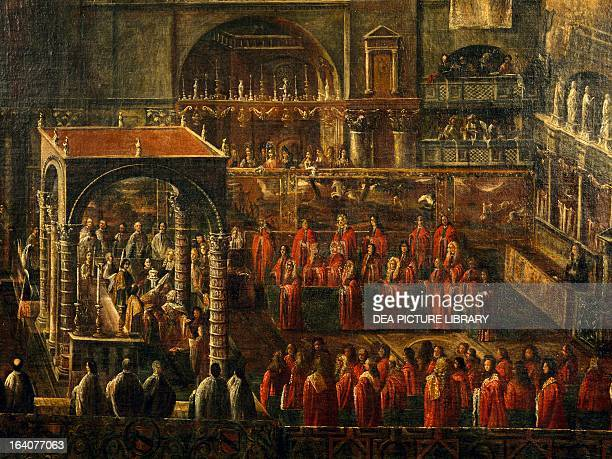 Church service in San Marco in Venice for the departure of the fleet against the Turks under the command of Francesco Morosini Italy 16th century...