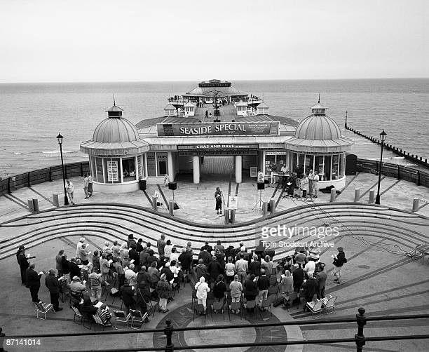 A church service is held at the end of the pier at Cromer Norfolk July 2007
