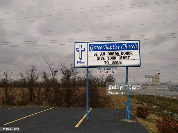 Church sign in front of Grave Baptist church in Russellville Arkansas