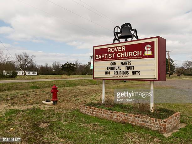 Church sign in front Rover Baptist church in Rover Arkansas