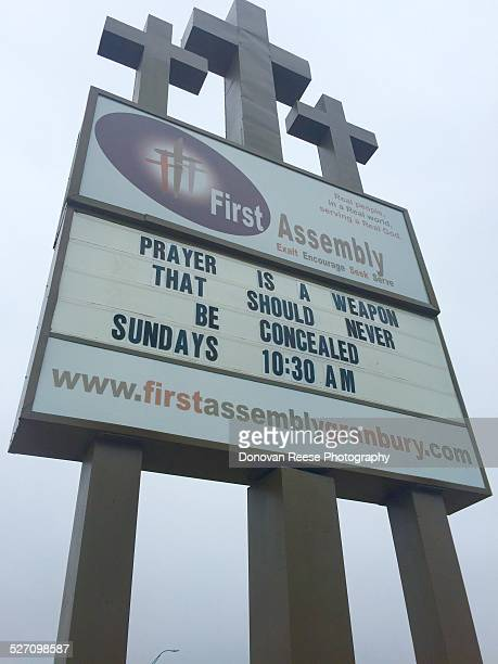 Church sign in Granbury Texas