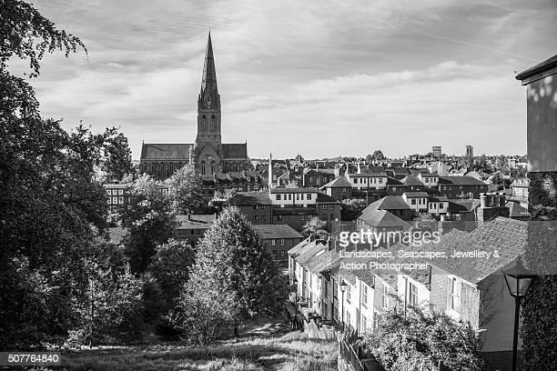 church spire in a cityscape - イギリス エクセター ストックフォトと画像