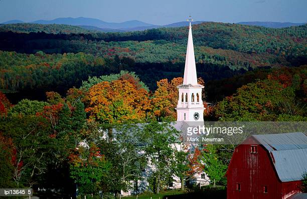 Church spire surrounded by forest, Peacham, United States of America