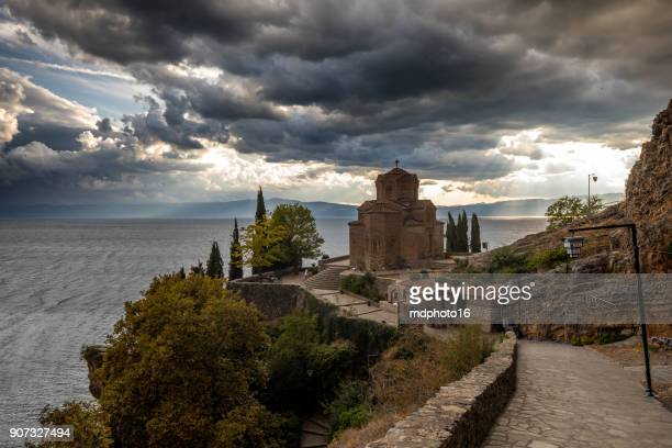 church st. john theologian – kaneo in macedonia - byzantine stock photos and pictures