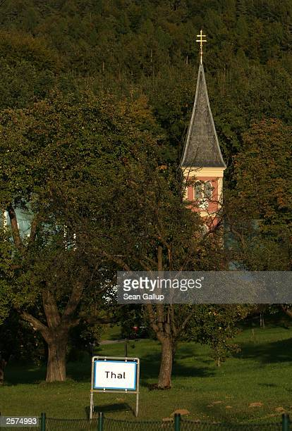 A church stands near a sign marking the city limits of the village of Thal Austria October 9 2003 where newlyelected California Governor Arnold...