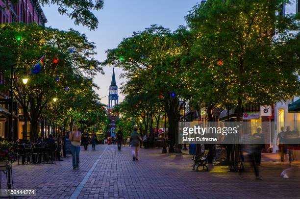 church street market at night - burlington vermont stock photos and pictures
