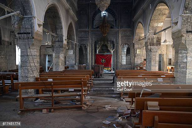 Church that was partially destoyed by Islamic State is pictured during the offensive to recapture the city of Mosul from Islamic State militants, on...