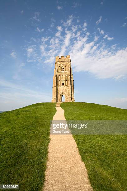 church tower on hilltop - glastonbury england stock pictures, royalty-free photos & images