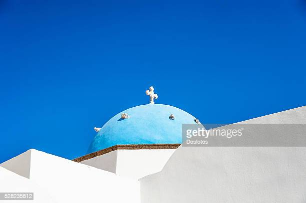 Church with blue dome roof; Megalochori, Santorini, Greece