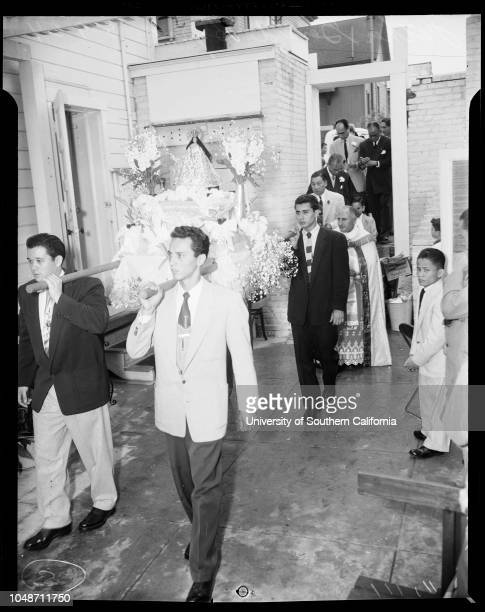 Filipino church Honoring the Blessed Mother 9 May 1954 Father Gerald ByrneRoderick Alemania 4Linda De Pilar 5Caption slip reads 'Photographer Olmo...
