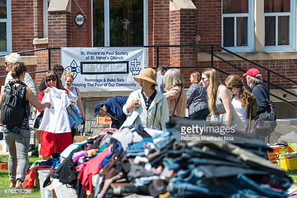 PORTUGAL TORONTO ONTARIO CANADA Churches hold garage sales to help the poor during the Dundas West Festival in Little Portugal the event is a...