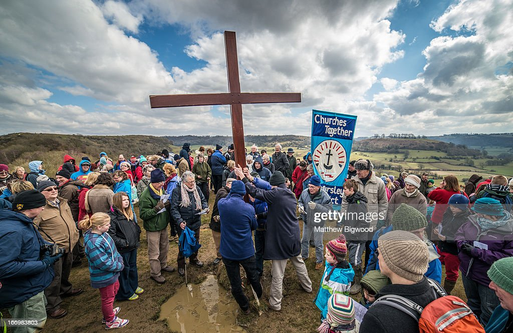 CONTENT] Churches in Cam and Dursley, Gloucestershire, made their annual journey to the top of Cam Peak on Good Friday to mark Easter by placing a wooden cross on top of the hill. The cross was carried from Dursley to the hill, stopping at Stations of the Cross on the way, and will be left in place over the Easter weekend.