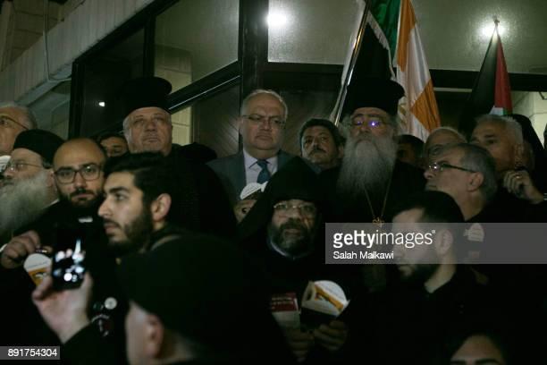 Churches in Jordan demonstrate at the Nasiriyah Virgin Church to stop the violations in the Holy Land in Amman Jordan December 13 2017 Patriarch...