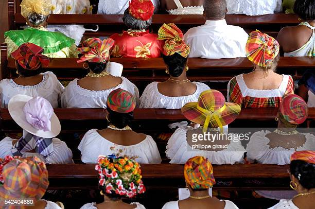 Churchgoers attending Mass in the cathedral of Basse Terre in Guadeloupe.