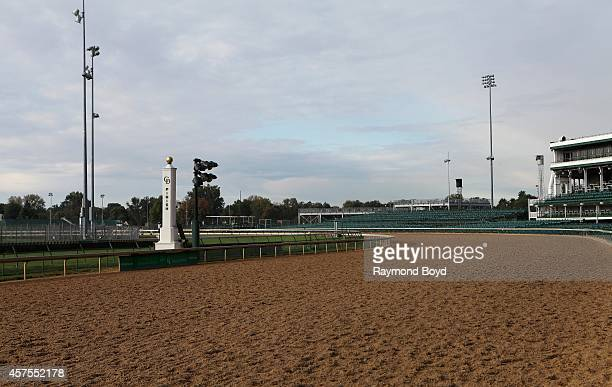 Churchill Downs race track finish line at Churchill Downs home of the Kentucky Derby on October 05 2014 in Louisville Kentucky