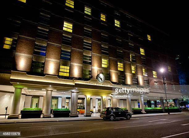 Churchill Hyatt Regency Hotel at night, London, UK