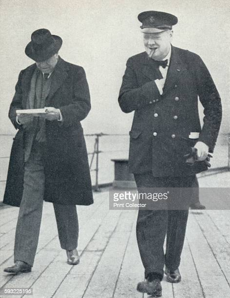 Churchill, jubilant, aboard H.M.S. Prince of Wales with Lord Beaverbrook, about to say farewell to President Roosevelt aftet the Atlantic Charter'...