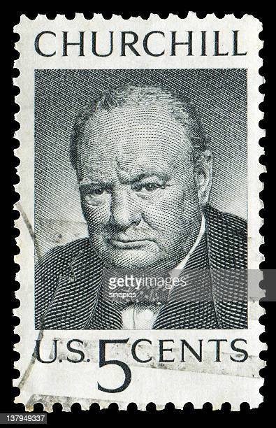 churchill stamp - winston churchill stock photos and pictures
