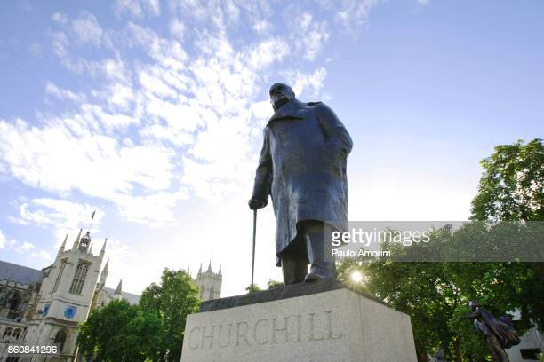 churchill statue at parliament square in london,england - winston churchill stock pictures, royalty-free photos & images