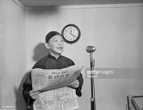 Churchill T Chiu former editor of the San Francisco Chinese Times is the news reader on The Chinese Goodwill Hour which broadcast into China occupied...